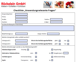Checkliste Klebebandanfrage