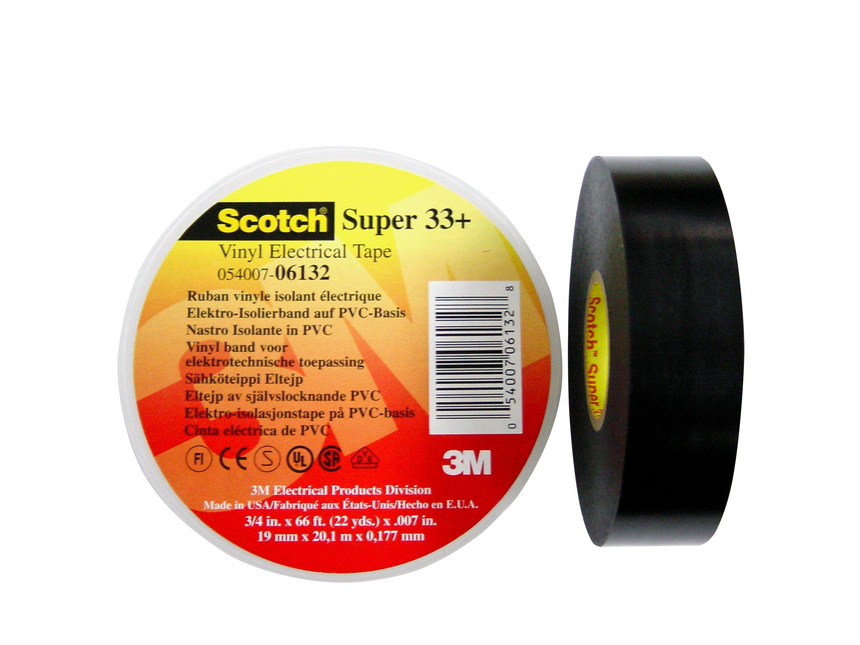 3M-Scotch-Super-33-Vinyl-Elektro-Isolierband-Schwarz